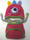 CROCHET BABY GIRL MONSTER HAT DIAPER SET knit infant toddler beanie photo prop