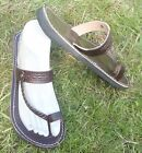 100% MOROCCAN LEATHER  TOE LOOP BEACH SANDALS BROWN * 6 sizes available