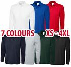 Mens & Womens Long Sleeve POLO SHIRT Plain Top Casual Work Smart Full Sleeve