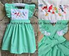 Smocked A Lot dress Song Birds mint green polka dot vintage pinafore Birthday