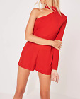 Missguided petite asymmetric choker neck playsuit red (M5/20)