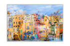 Beautiful Landscape Colourful Town Poster Print Wall Art Decor Painting Re-Print