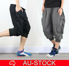 Mens BAGGY HAREM PANTS Track Trousers Joggers Gym Slacks Training Casual Cuff