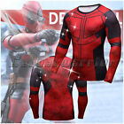 Men Deadpool 3D Printed T-shirt Cosplay Long Sleeve Tee Sport Gym Cycling Tops F