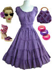 50s Style Bombshell Pinup PURPLE EYELET Dots Peasant Top FULL SKIRT Sun Dress