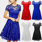 Plus Size Womens Lace Floral Prom Evening Party Bridesmaid Wedding Mini Dress