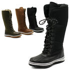 ollio Womens Shoes Lace Up Nylon Padding  Fur Trimmed Snow Duck Boot