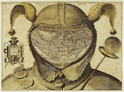 1580 Fool's Cap Mysterious World Map Jester Vintage Historical Wall Poster Print
