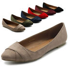 ollio Womens Shoes Light Comfort Faux Suede Cross Strappy Ballet Flat
