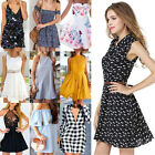 New Womens Casual Short Sleeve Evening Cocktail Party Shirt Dress Mixture