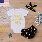 Newborn Baby Girls Clothes Rompers+Ruffel Pants Shorts+Headband 3PCS Outfits Set