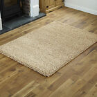 SMALL X LARGE SIZE PLAIN SOFT SHAGGY RUG NON SHED BEIGE 5CM PILE MODERN RUGS