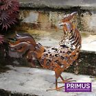 Primus Rusted Metal Animals Outdoor Garden Patio Ornaments Duck Rooster