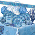 AGE 50/50TH BIRTHDAY BLUE GLITZ PARTY RANGE (Balloon/Decorations/Banner/Napkins)