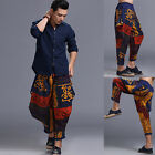 Men Print Hip-hop Pants Harem Baggy Linen Loose Casual Cotton Boho Trousers New