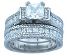 4.60Ct 2Pc Princess Cut CZ Engagement Wedding Bridal Ring Set Sterling Silver
