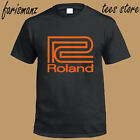 New Roland Synthesizer Logo Men's Black T-Shirt Size S to 3XL