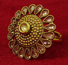 Goldtone Traditional Adjustable Ring Bollywood Party New Jewelry-KR37-PAR
