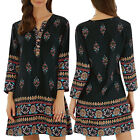 Vintage Celmia Womens V Neck Long Sleeve Boho Floral Summer Short Dress Sundress