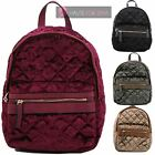 LADIES NEW VELOUR QUILTED FRONT POCKET SCHOOL COLLEGE BAG BACKPACK