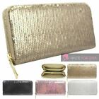 NEW WOMENS SHINY SEQUIN LARGE ZIP AROUND WALLET PURSE