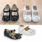 Girls Childrens Kids Wedding Christening Diamante Bow Patent Strap Shoes Size