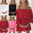 Womens Summer Boho Mini Dress Ladies Strapless Casual Beach Party Shirt Dress OZ