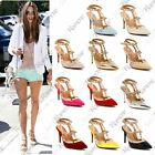 New Women Studded Ankle Strap Pointed Toe Court High Heels Tbar Stiletto Sandals