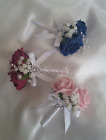 Wedding Bridal Double Pin On Corsage Buttonhole Pearls Gypsophila Various Colour