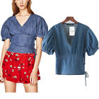Womens V Neck Puff Sleeve Tie Side Denim Top Blouse Cute Casual