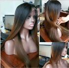 "24"" Straight Dark Brown With Long Black Roots Lace Front Wig Heat Resistant"