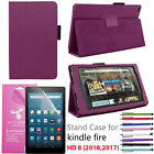 Amazon Fire HD 8 Premium Leather case For 2017 7th Generation + Screen Protector