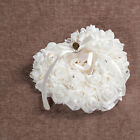 Diamante White Rose Pearl Love Heart Shaped Wedding Pocket Ring Pillow Cushion