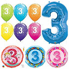 Age 3 - Happy 3rd Birthday Qualatex Balloons {Helium Party Balloons Boy/Girl}