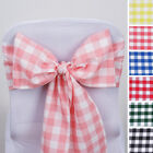 CHAIR SASHES Gingham Checkered Polyester Wedding Reception Decorations Wholesale