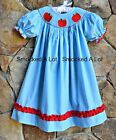Smocked A Lot Girls Back to School Apple Dress Red Aqua Gingham Bishop Outfit