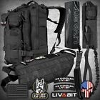 LIVABIT BLACK K9 Vest Combo Backpack Dog Harness Paracord Knife Patch Leash