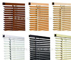PVC Venetian Blinds Window Blind In Black Cream White inc Wooden Grain Effect