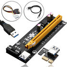 USB 3.0 Pcie PCI-E Express 1x-16x Extender Riser Card Adapter Power BTC Cable ee