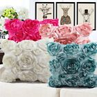 Square Satin 3D Rose Flower Throw Pillowcase Sofa Car Pillow
