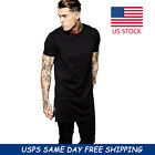 Fashion Men Short Sleeve Long Size Extended Hip Hop T-Shirt Zipper Streetwear image