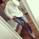 2017 New Women Ladies Loose Oversize Off Shoulder Knitted Jumper Winter Sweater