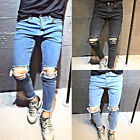 Herren Jeans Hose Denim Slim Fit Zerrissen Destroyed Verwaschen Skinny W30-W36