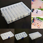 Plastic 15/10/24 Slots Adjustable Jewelry Storage Box Case Craft Organizer Beads
