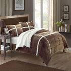 Chloe Plush Microsuede Sherpa Lined Brown 3 Piece Comforter & Shams Set