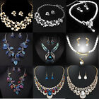Hot Prom Wedding Bridal Party Crystal Rhinestone Necklace Earring Jewelry Sets