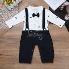 Baby Boys Gentleman Bowtie Formal Wedding Tuxedo Jumpsuit Romper Clothes Outfit