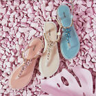 NEW WOMENS LADIES FLAT DIAMANTE JEWEL SUMMER BEACH  HOLIDAY SANDALS SIZES 3-8
