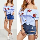 Blue Embroidered Striped Off Shoulder Women Ruffle Knot Top With Patch Blouse