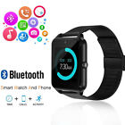 Black Bluetooth Smart Wrist Watch Steel Band Phone Mate for iPhone 7 8 X XS MAX